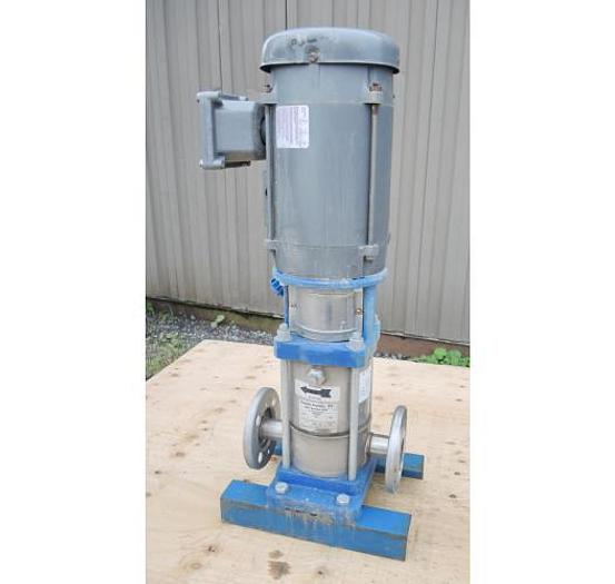 "Used USED CENTRIFUGAL PUMP, 1.25"" X 1.25"" INLET & OUTLET, 316 STAINLESS STEEL, MULTI-STAGE VERTICAL BOOSTER PUMP"