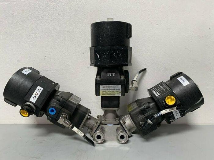 "Used 3 ITT Sherotec 90PSI Stainless Steel Valves w/ 3 Position Monitors 1/2"" Sanitary"