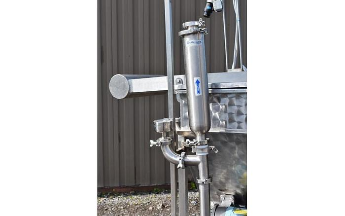 USED WAUKESHA ROTARY LOBE PUMP, MODEL 34, WITH 125 GALLON JACKETED STAINLESS STEEL TANK & BASKET FILTER