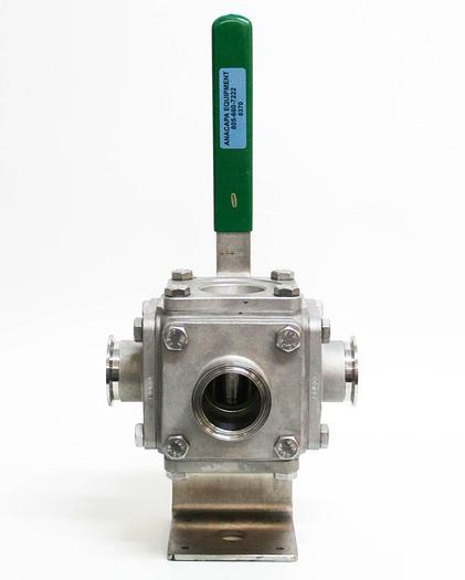 "Used InLine Model 507F Stainless 2"" 3-way Ball Valve 800psi (6370)"