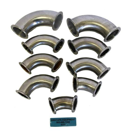 Used Tri-Clover NW50, NW40, 90 Degree Radius Elbow Fittings Mixed lot of 9 (8223)W