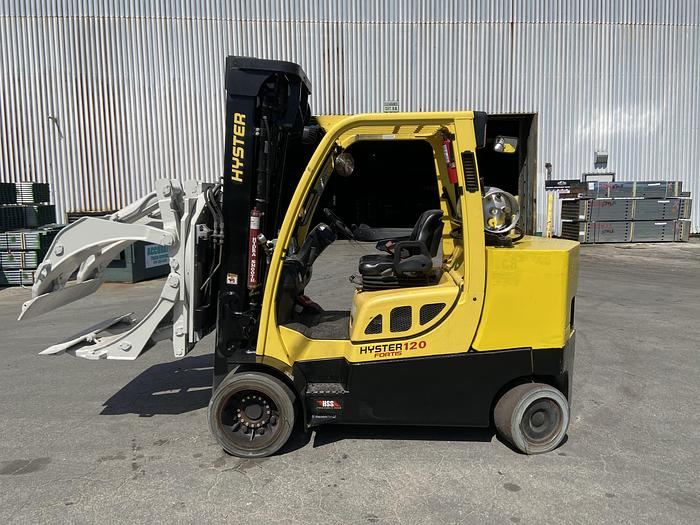 """Used 12,000 POUND HYSTER MODEL S120FTPRS PAPER ROLL CLAMP TRUCK 60"""" CLAMP MFG. 2014"""