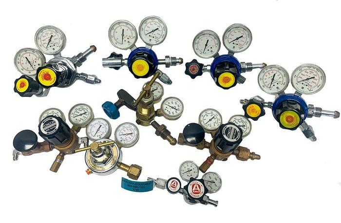 Used VBA Cryogenics, Concoa, Harris, Various Models of Gas Regulators Lot of 9 (6798)