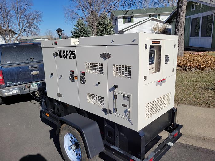 25kva Sound Enclosed Trailer Mounted Generator /New Warranty Tier 4 Final  New