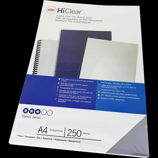 Branded HiClear PVC A4 250Micron Protective Binding Covers (100)