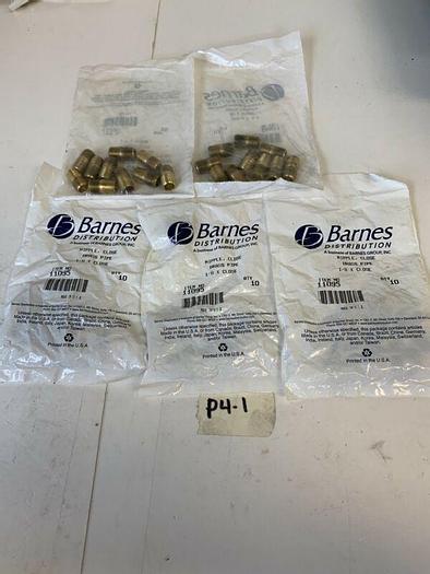 Barnes Nipple Close Brass Pipe 1/8 x Close 11095 Qty:10 In Bag (Lot Of 5)