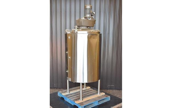 USED 250 GALLON JACKETED TANK, STAINLESS STEEL, WITH SWEEP AGITATION