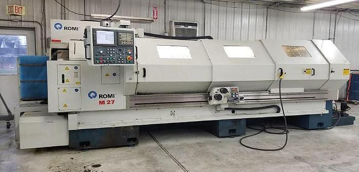 "2003 ROMI M27 27"" X 120"" CNC FLAT BED LATHE WITH STEADYREST & FANUC 21iT CONTROL"