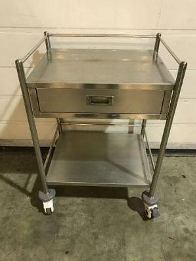 Trolley Surgical Stainless Steel 600 x 450mm 2 Shelves  and 1 Drawer