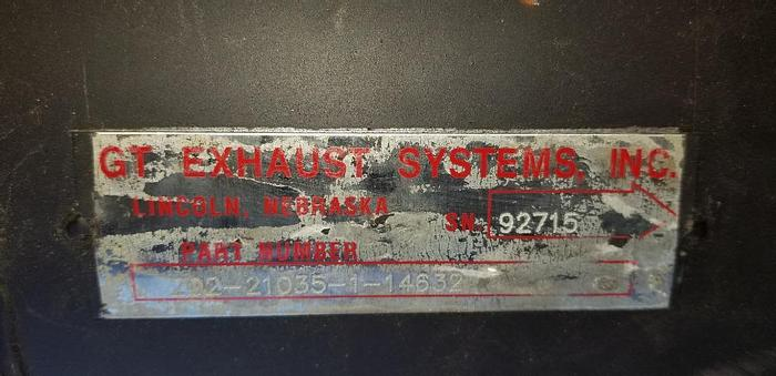 """Used NEW SURPLUS GT EXHAUST  SILENCER # 202-21035-1-14632    SN# 92715  3-1/2"""" """" I.D. INLET & OUTLET    14"""" DIAMETER     BODY LEGTH 21"""""""