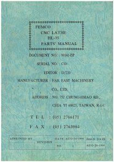 Used Manual for Used Femco CNC Lathe HL35 Parts Manual