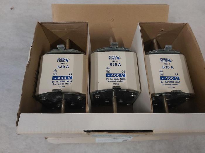 3 Stück NH Sicherungseinsätze Größe 3, 630A, NH-3, 400V, Eurofuse,  neuwertig