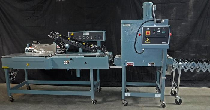 Used USED SHANKLIN S24B L-SEALER, T-6HC SHRINK TUNNEL, WITH RETRACTABLE SKATE CONVEYOR