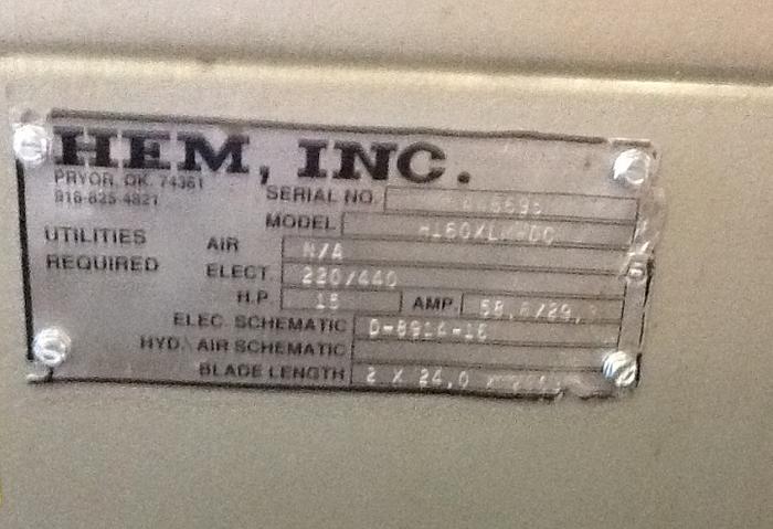 HEM MODEL H160XLM-DC DOUBLE COLUMN HORIZONTAL BAND SAW