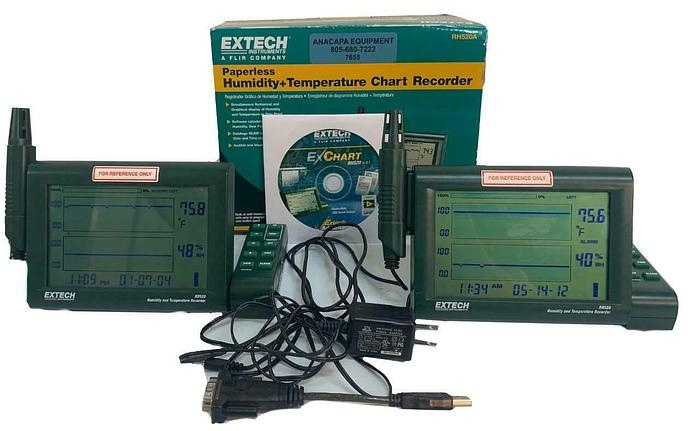 Used Extech RH520A Paperless Humidity, Temperature Chart Recorder Lot of 2 (7655) W