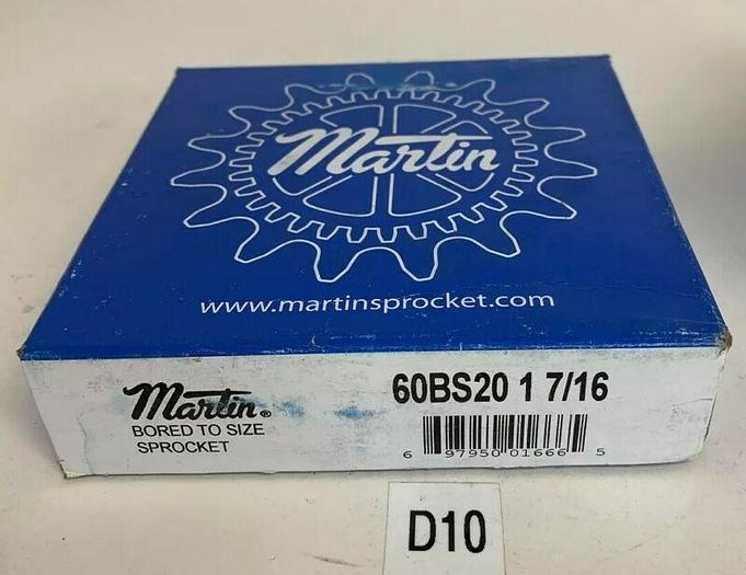 MARTIN BORED TO SIZE SPROCKET 60BS20 1 7/16  - 1 7/16 IN SEALED BOX