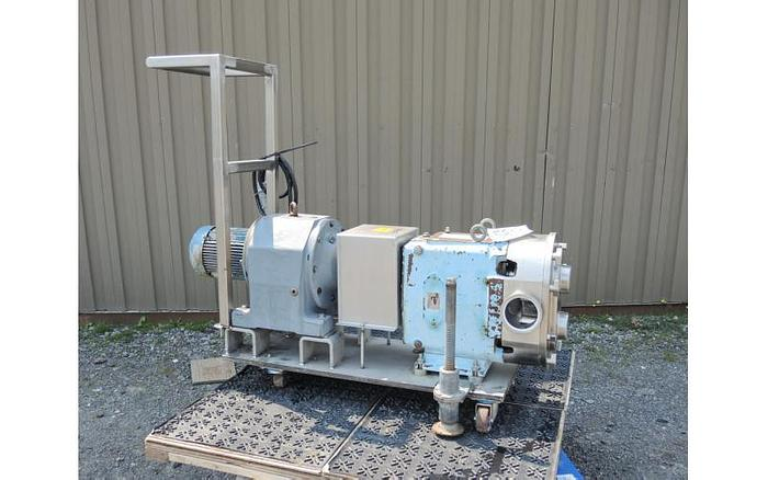 Used USED WAUKESHA ROTARY LOBE PUMP, MODEL 220, STAINLESS STEEL, SANITARY