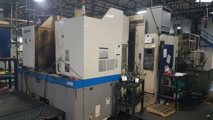 "Used 2000 Okuma Horizontal Machining Center, MA 60HB, 630mm X 630MM Pallet, 60ATC, X-39.5"", Y-35.4, 35 HP, 12000 RPM, OSP U100M CNC"