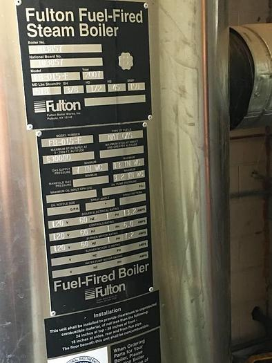 Used Fulton Steam Boiler 60 HP