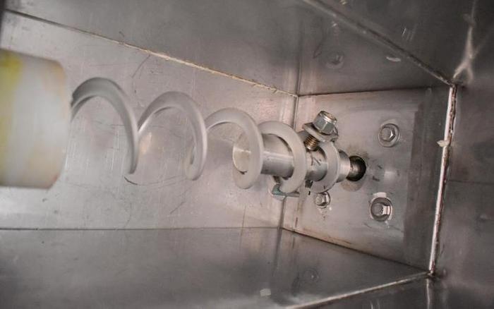 "USED SCREW CONVEYOR, 3"" DIAMETER X 96'' LONG, STAINLESS STEEL WITH HOPPER"