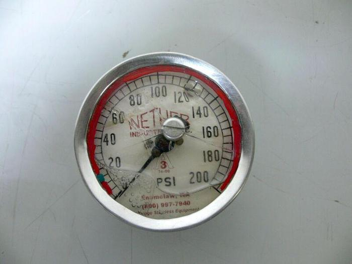 """Used Nether Industries Pressure Gauge 200 PSI 2.5""""OD Bottom Mount Sanitary Fitting"""