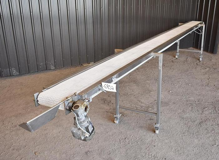 "Used USED STAINLESS STEEL FOOD GRADE BELT CONVEYOR, 10"" WIDE X 228'' LONG"