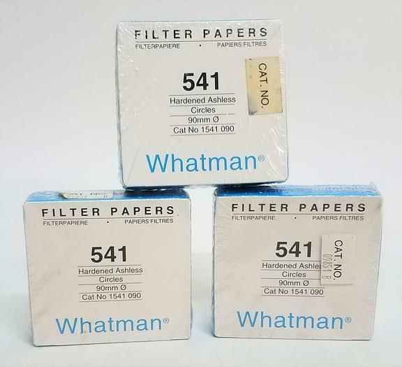 Whatman 541 Filter Papers Hardened Ashless 90mm 1541-090 Lot of 3 NEW (6815)Z