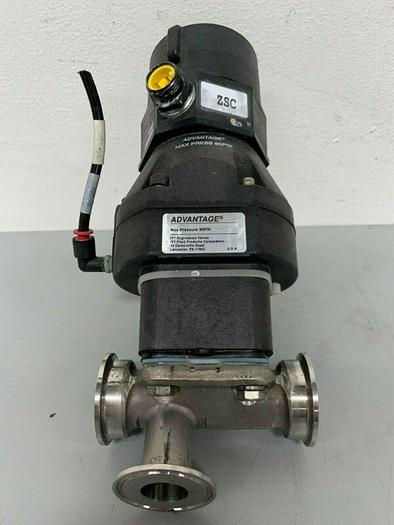 "Used ITT Pur-Flo 3-way Stainless Steel Valve w/ 2"" Sanitary Fit & Position Monitor"