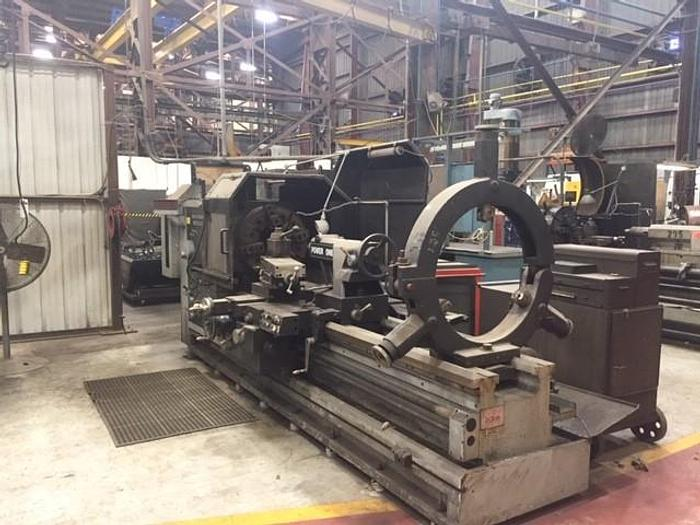 "Used 1987 American Engine Lathe, Model Power One, Swing 35"" Between Centers 80"", 14"" Spindle Bore, Inch Metric Threading, Taper attachment, Steady Rest,"