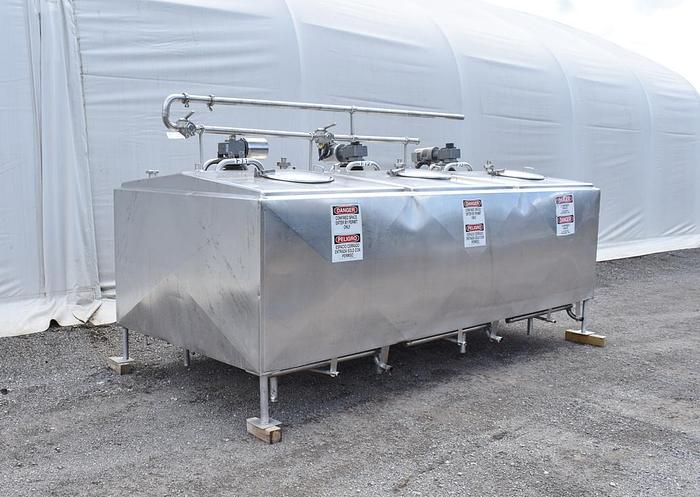 USED 2000 GALLON JACKETED TANK, STAINLESS STEEL, 3 COMPARTMENTS WITH MIXERS, FLAVOR TANK