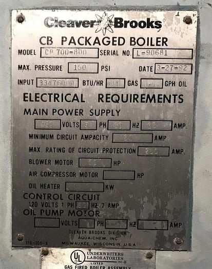 1992 Cleaver Brooks 800 HP 150 PSI Steam Boiler CB 700-800-150