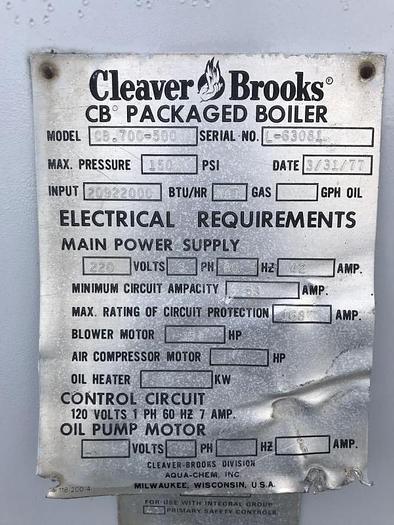 1977 Cleaver Brooks 500 HP 150 PSI Steam Boiler  CB 700-500