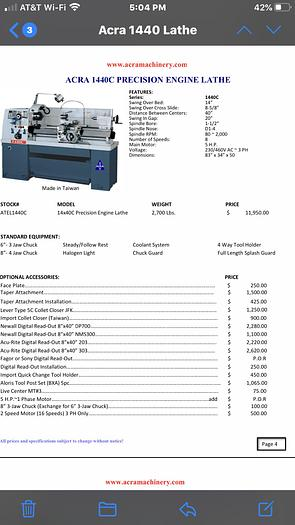 2020 ACRA 1440-C ENGINE LATHE  1440-C