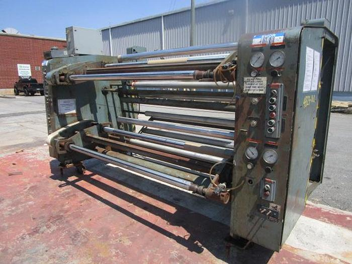 """Used Used 74"""" Gloucester 124 dual turret winder with nips and lay on rolls"""
