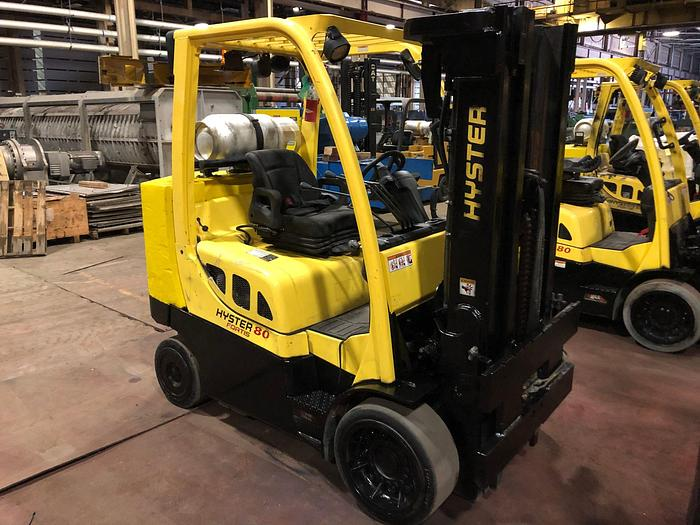 Used 8,000 POUND HYSTER MODEL S80FTBCS MFG. 2013 W/ ROLL CLAMP