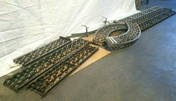 Used 60 FT Gravity Roller Conveyor Tracking One Lot One Price 6 Straight & 2 Curved