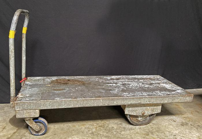 """Used Heavy Duty Flatbed Carts, Galvanized, 24""""W x 60""""D x 14""""H, (handle heights 32"""" or 38"""")"""