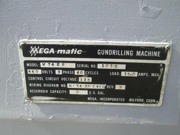 "MEGA-Matic Model M 7429 Gundrilling Machine With Coolant System 1/2"" x 18"" Cap."