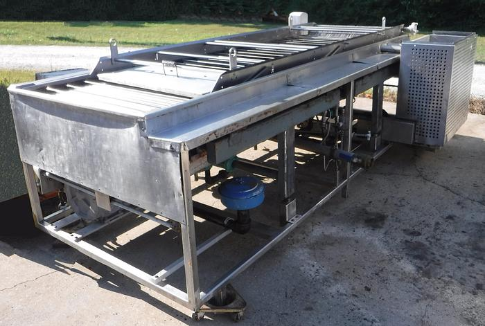 Used USED CENTURY C800 GAS FRYER WITH REMOVABLE CONVEYOR AND, REMOTE CONTROL CONSOLE, AND BELSHAW CSF2400 SHORTENING FILTER