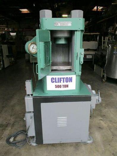 Used 500 TON CLIFTON / M & N HYDRAULIC HOBBING PRESS / COINING PRESS