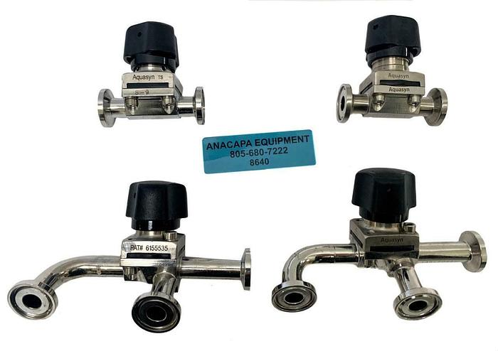 "Used Aquasyn 1"" 2-way & 3-way Micro Biotech Diaphragm Valves Lot of 4 (8640)W"