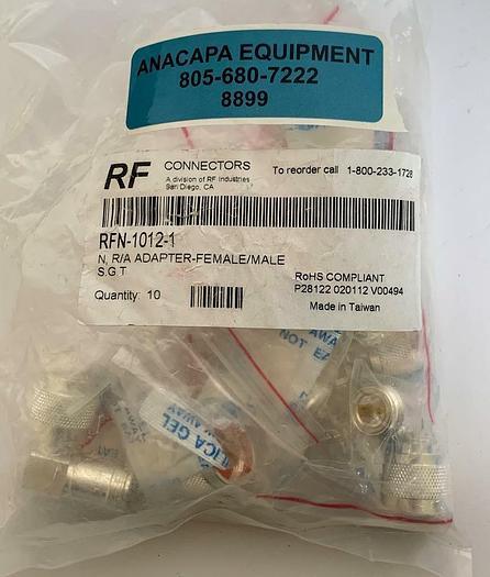 RF Industries RFN-1012-1, N, R/A Adapter-Female/Male New Lot of 10 (8899)W