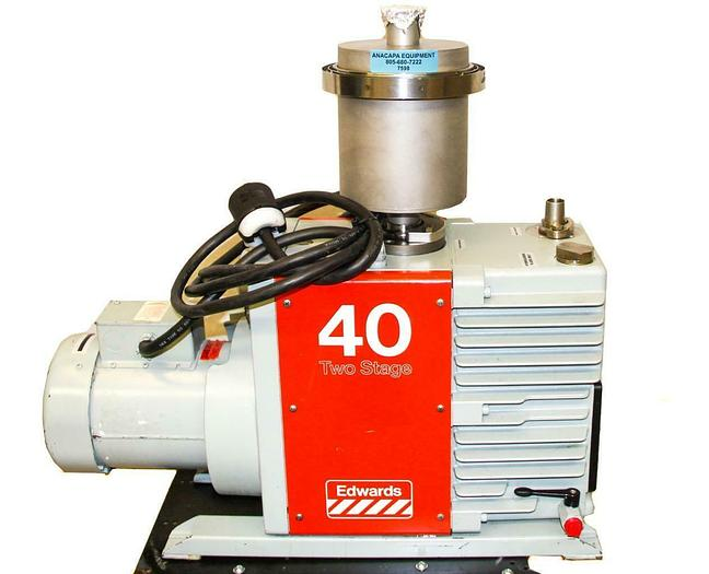 Used Edwards E2M40 Two Stage Rotary Vane High Vacuum Pump Working (7598) W