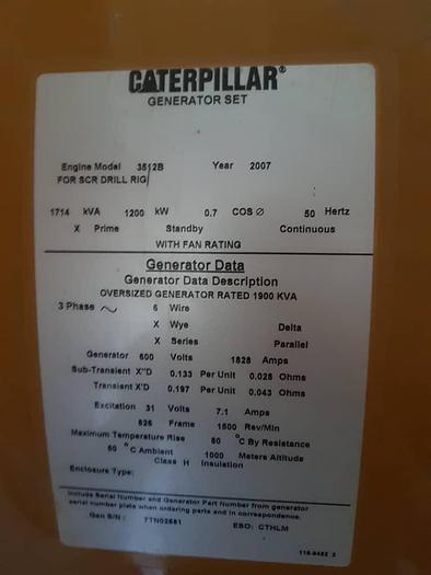 Caterpillar 3512B Unused generator in Mute Container.