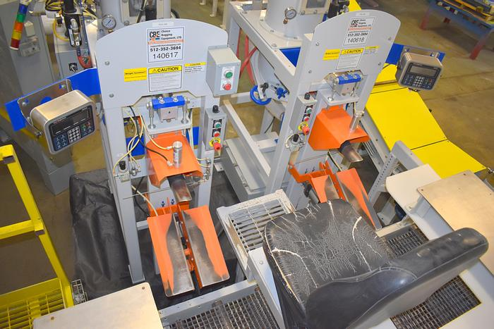 Used used CBE, Choice Bagging Equipment 730 pressure flow Pneumatic air valve bag filler system with checkweigher