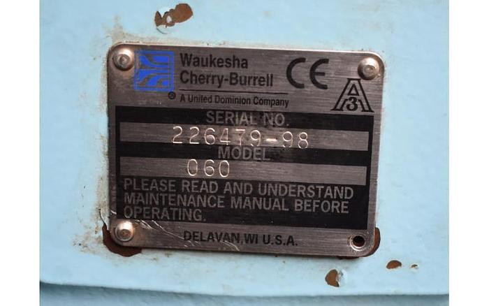 USED WAUKESHA ROTARY LOBE PUMP, MODEL 060, STAINLESS STEEL