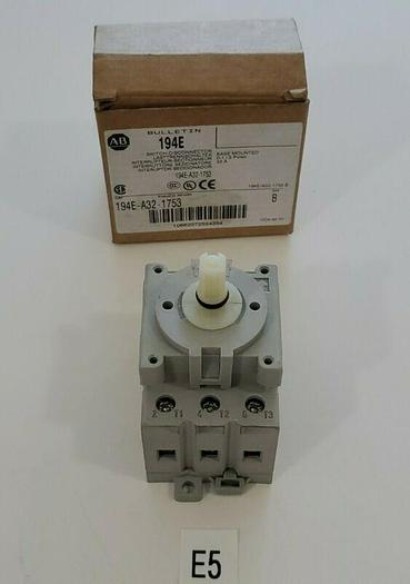 *NEW* Allen Bradley 194E-A32-1753 Base Mount Load Switch Ser B 3P 32A NOHARDWARE