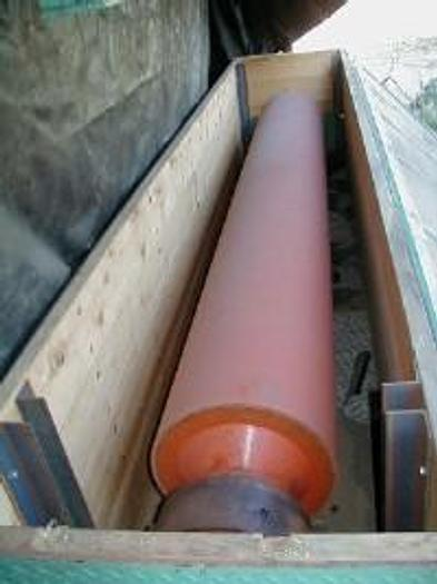 """Used 121"""" cast rubber roll, 18"""" diameter."""