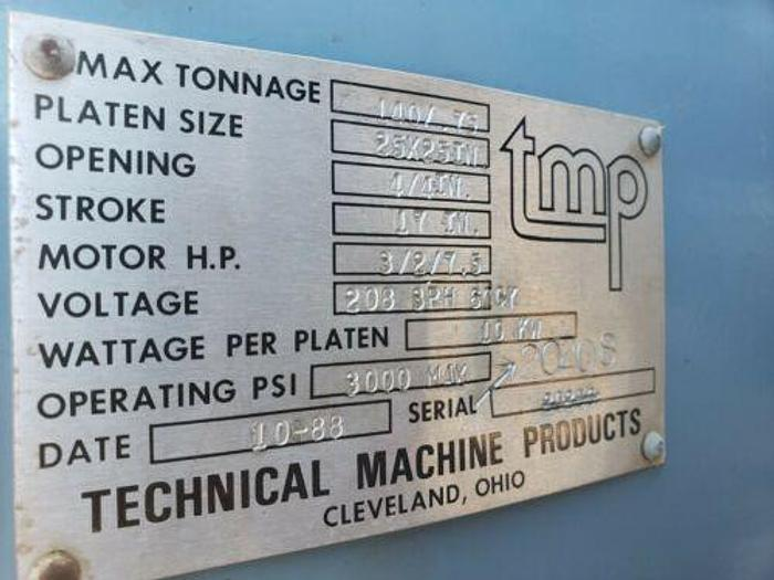 "TMP 25"" x 25"" COMPLETE 140 TON MULTI PLATTEN VACUUM HYDRAULIC LAMINATION PRESS"