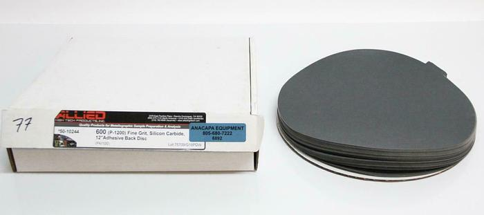 """Allied 50-10244 600 (P-1200) Fine Grit Silicon Carbide Adhesive DIsc 12"""" (6892)"""